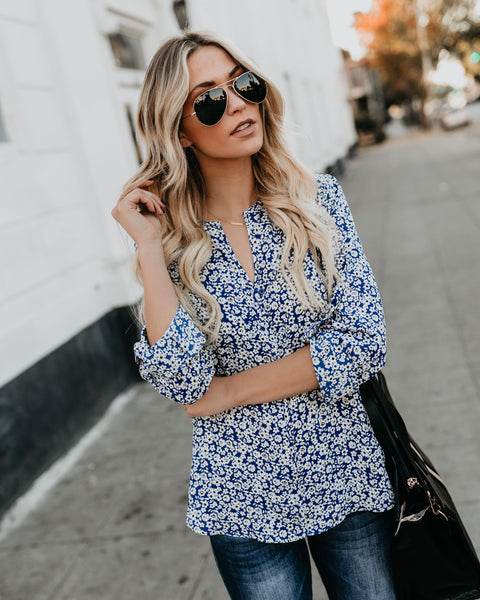 Violets Are Blue Floral Blouse