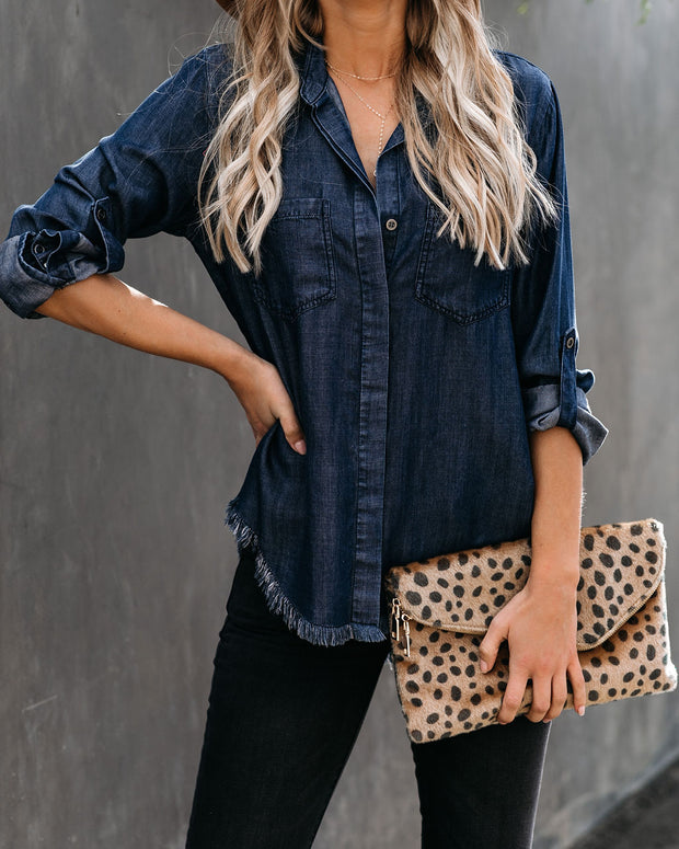 Virginia Tencel Frayed Button Down Top