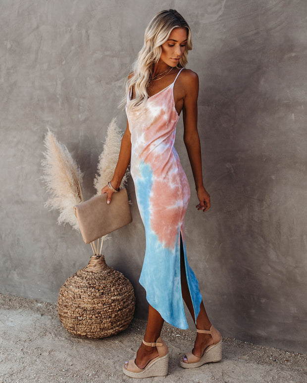 Virtue Asymmetrical Tie Dye Midi Slip Dress