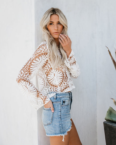 Visionary Cotton Crochet Lace Top - White