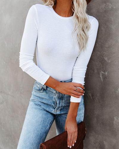 Vital Long Sleeve Ribbed Bodysuit - White