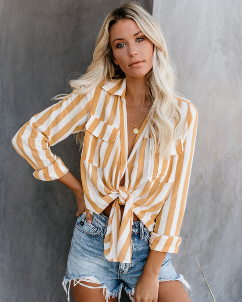 Vitamin D Striped Tie Top - Yellow