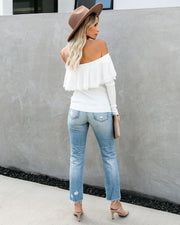 Vivaldi Ribbed Off The Shoulder Lace Top - White