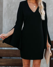 Vocals Bell Sleeve Dress - Black