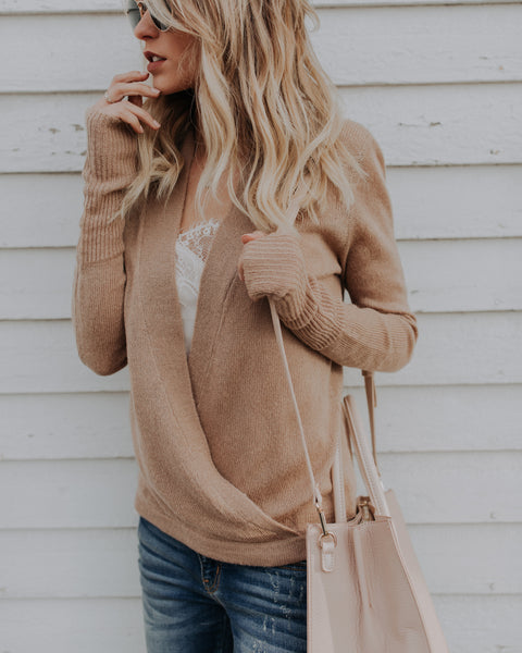 Iconic Wrap Sweater - Taupe