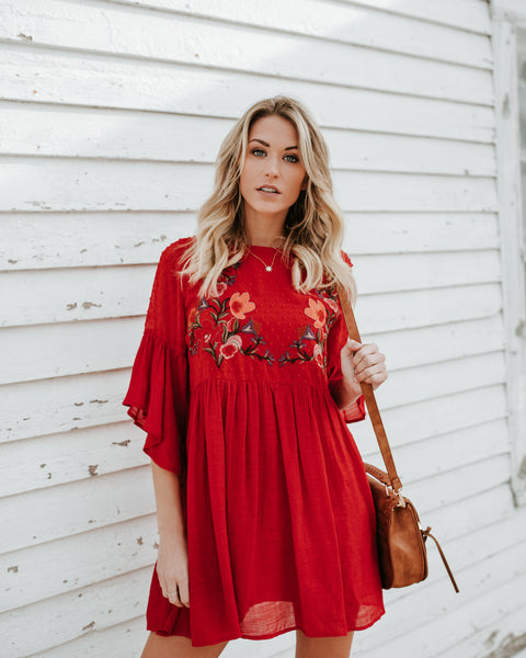 Sabina Embroidered Swing Dress - Red