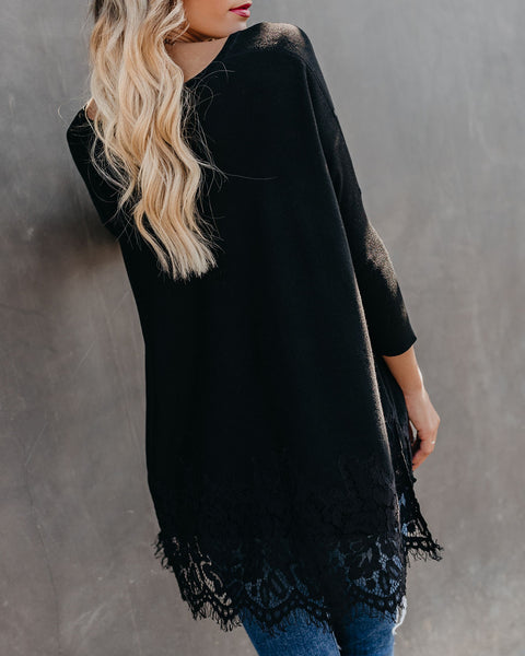 Waldorf Lace Contrast Sweater - Black