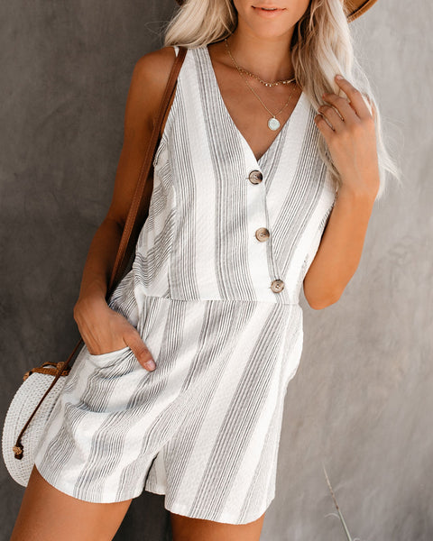 Walking On Sunshine Cotton Striped Pocketed Romper