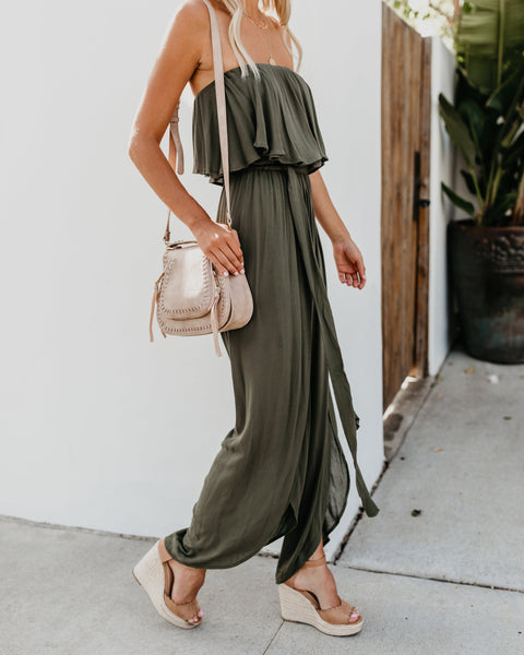 Walk Of Style Strapless Jumpsuit - Olive - FINAL SALE