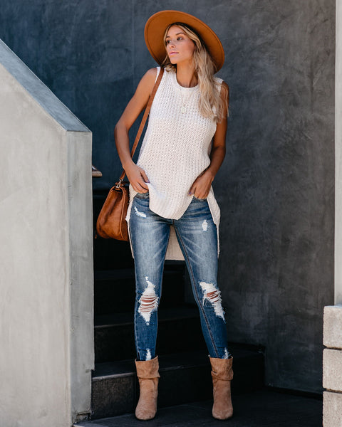 Walk That Talk High Low Knit Tank - Beige