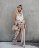 Walk The Walk Tie Pants - Taupe - FINAL SALE