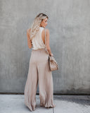 Walk The Walk Tie Pants - Taupe