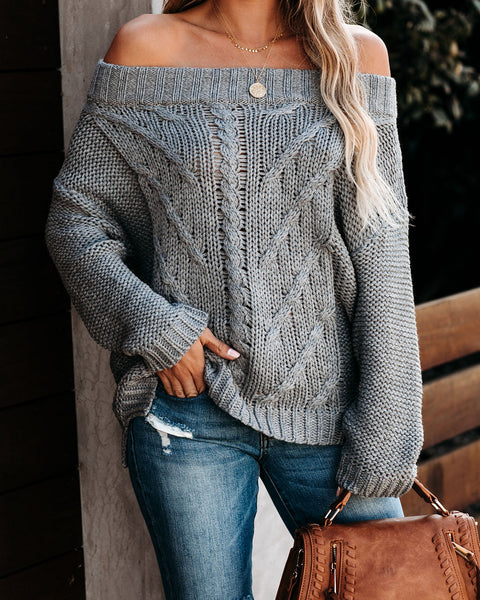Wallace Off The Shoulder Cable Knit Sweater  - FINAL SALE