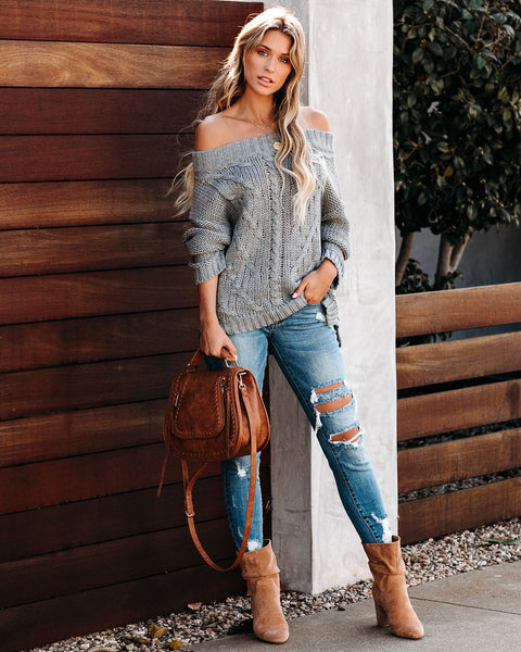 Wallace Off The Shoulder Cable Knit Sweater