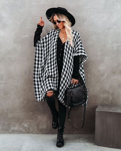 Walton Buffalo Check Poncho - White