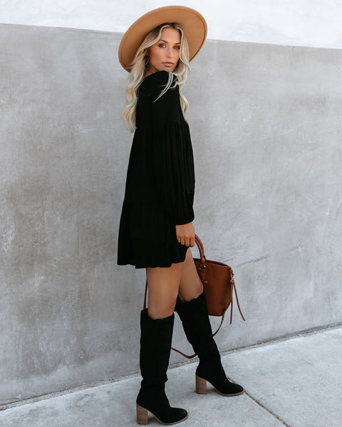 Wanderlust Pocketed Tiered Tunic - Black