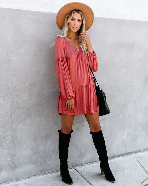 Wanderlust Pocketed Tiered Tunic - Red Wood