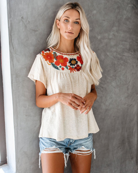 Wander The Wild Floral Embroidered Knit Top