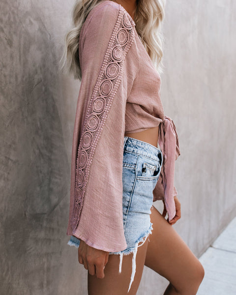Warm Air, Salty Hair Tie Top - Mauve