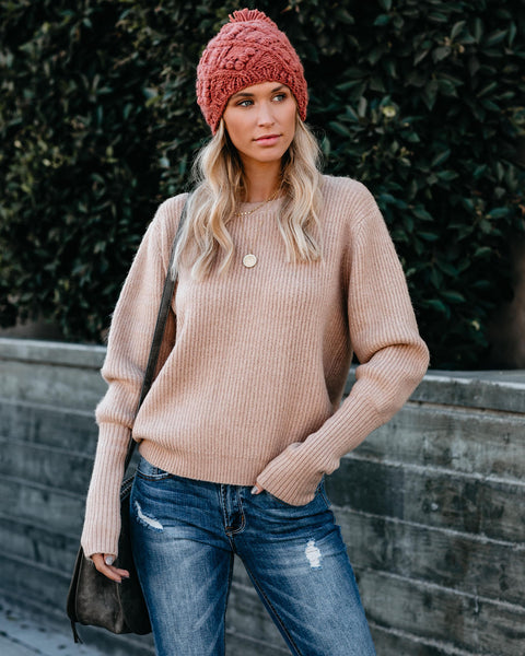 Warm Company Ribbed Knit Sweater - Nude