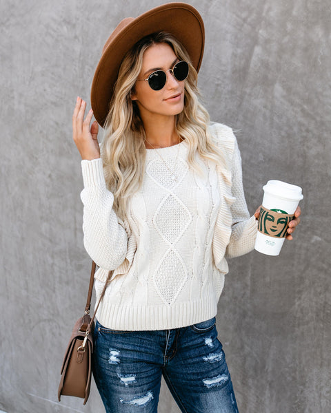 Warm Memories Ruffle Cable Knit Sweater