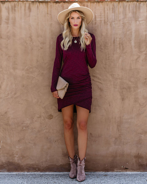 PREORDER - Warner Long Sleeve Cotton Blend Ruched Dress - Burgundy