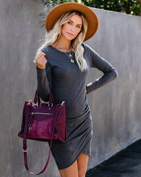 Warner Long Sleeve Cotton Blend Ruched Dress - Charcoal - FINAL SALE