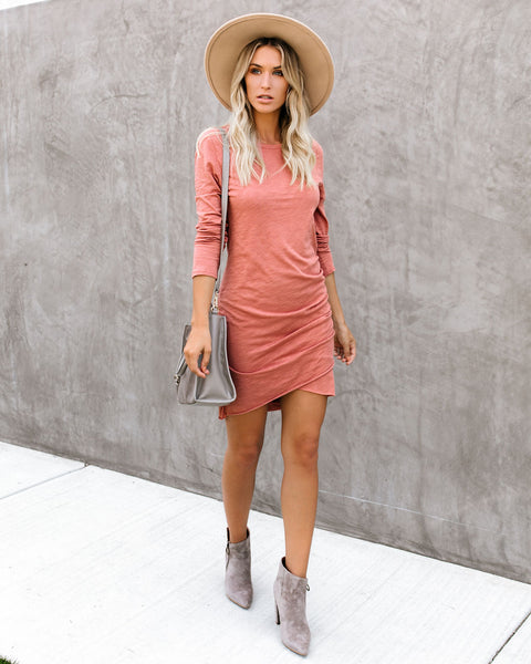 Warner Long Sleeve Cotton Blend Ruched Dress - Dusty Rose - FINAL SALE
