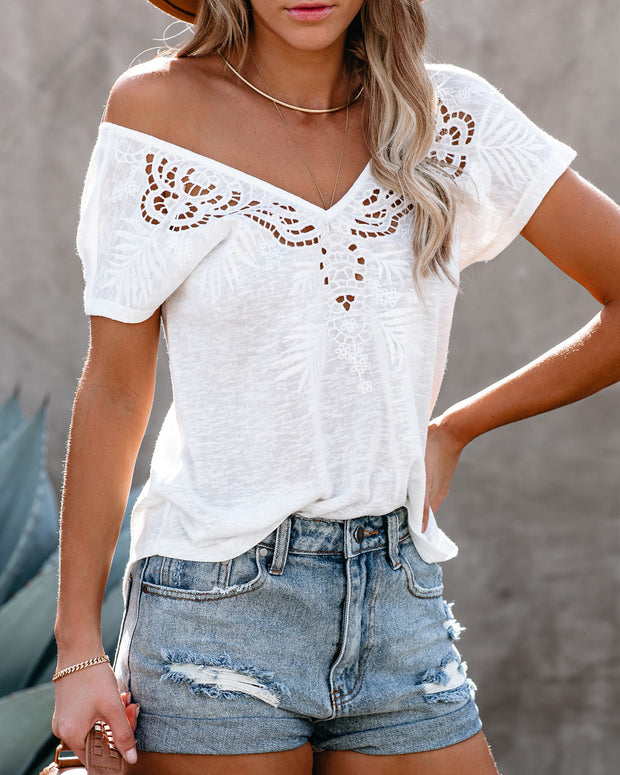 Watchtower Embroidered Eyelet Knit Top