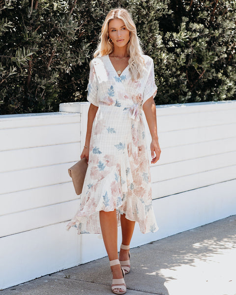 Watercolor Ruffle Wrap Midi Dress