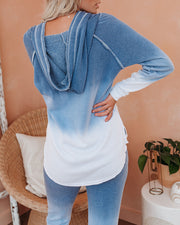 Waterfall Cotton Blend Pocketed Ombre Hoodie - Navy
