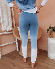 Waterfall Cotton Blend Ombre Joggers - Navy