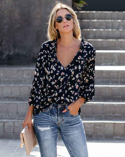 Waterlily Floral Ruffle Blouse - FINAL SALE