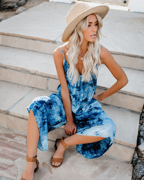 Water's Edge Tie Dye Pocketed Jumpsuit