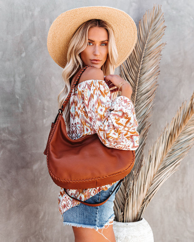 Waverly Faux Leather Hobo Bag - Tan view 2