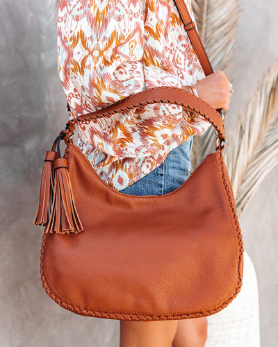 Waverly Faux Leather Hobo Bag - Tan