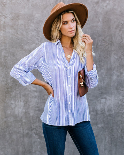 Wayside Striped Cotton Blend Button Down Top - FINAL SALE