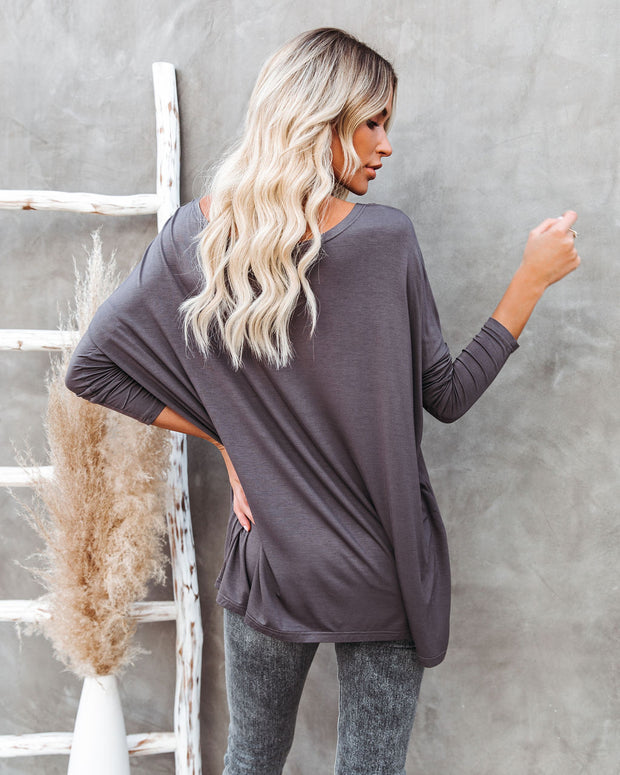 Wear It Well Long Sleeve Bamboo Knit Top - Storm Grey view 2