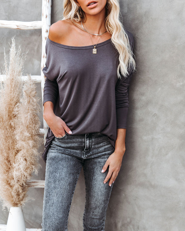 Wear It Well Long Sleeve Bamboo Knit Top - Storm Grey view 7