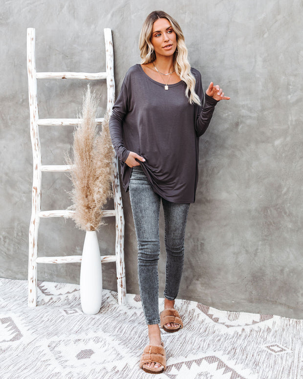 Wear It Well Long Sleeve Bamboo Knit Top - Storm Grey view 10