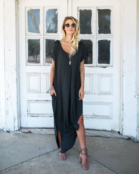 Weekender Pocketed Maxi Dress - Charcoal