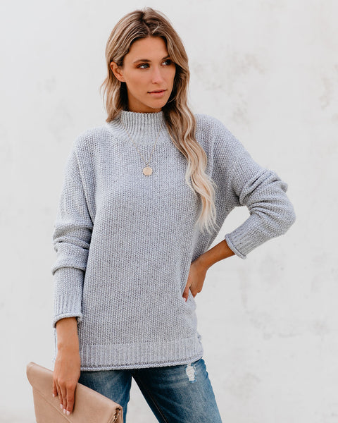 Welcome, Winter Mock Neck Sweater - Heather Grey - FINAL SALE
