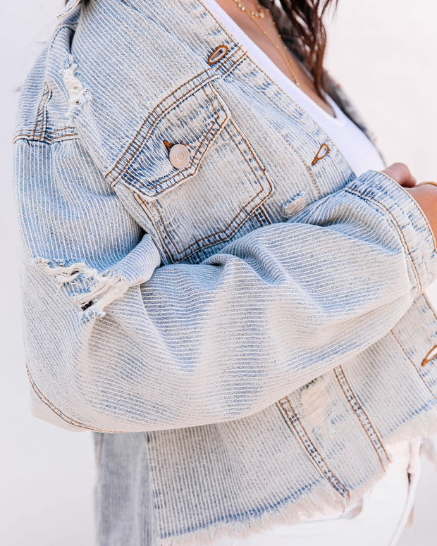 Well Worn Distressed Denim Jacket - Denim Stripe view 4