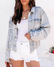 Well Worn Distressed Denim Jacket - Denim Stripe view 7