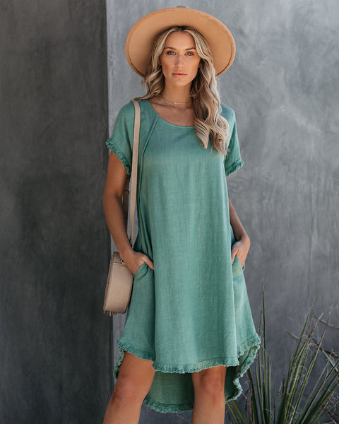 Well Worn Fringe Cotton Blend Pocketed Dress - Lagoon