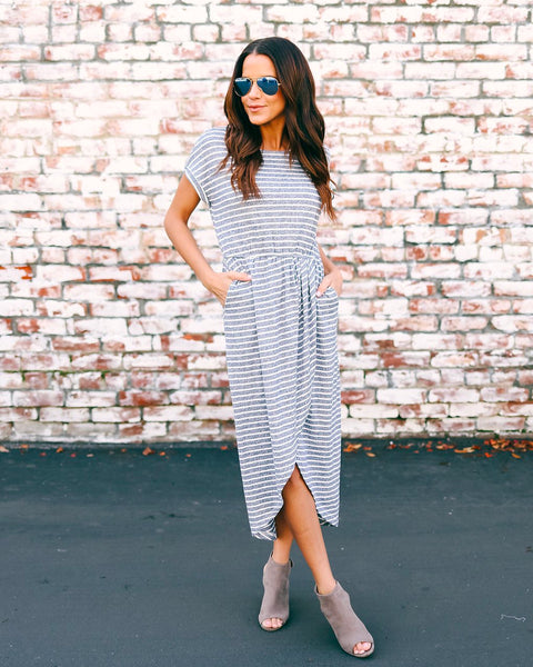 West Village Pocketed Striped Knit Dress - Navy