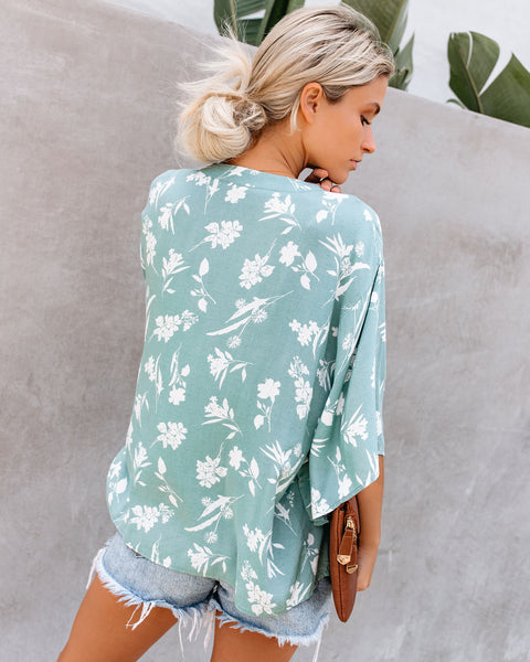 West Coaster Floral Button Down Top - Sage