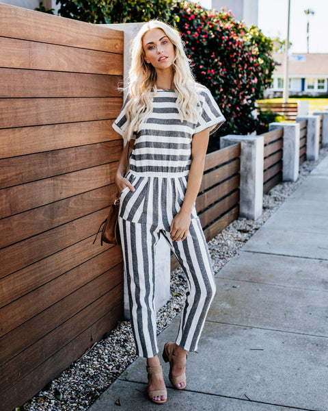 d1f4f4f4526 West End Cotton Striped Pocketed Jumpsuit - Black White - FINAL SALE