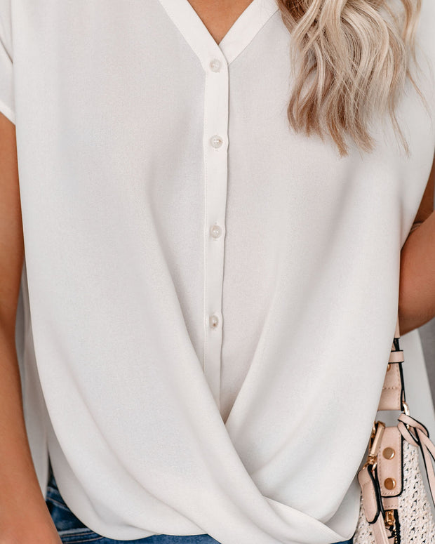 West Village Button Down Drape Blouse