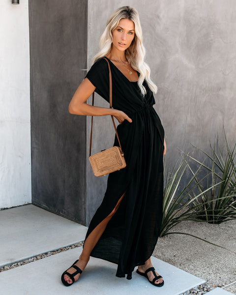 Wet Suit Cover-Up Maxi Dress - Black